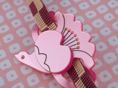 桜鶴の帯留め  WA-569