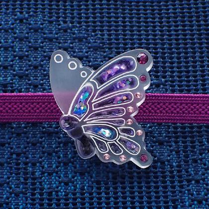 揚羽の帯留 螺鈿風紫