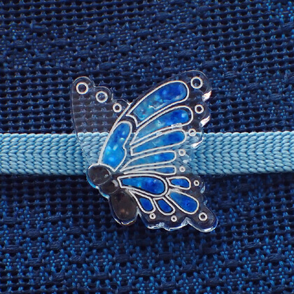 揚羽の帯留 螺鈿風青