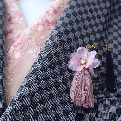 桜コサージュの帯飾り