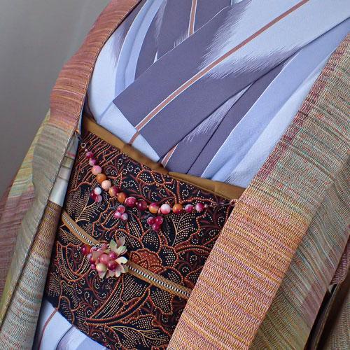 葡萄の帯留めと羽織紐