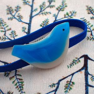 小鳥の帯留 青い鳥