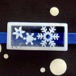 アイスブルーの雪の結晶帯留(四角 クリア) 正面