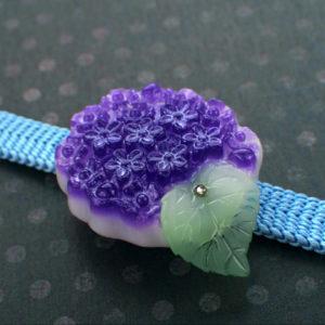 紫陽花の帯留(だ円)