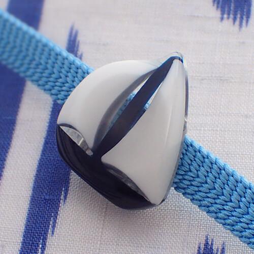 ヨットの帯留 白×紺