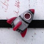 ロケット帯留 赤×銀色 正面
