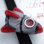 ロケット帯留 赤×銀色