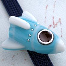 ロケット帯留 白×水色