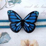 青い蝶の帯留め 正面