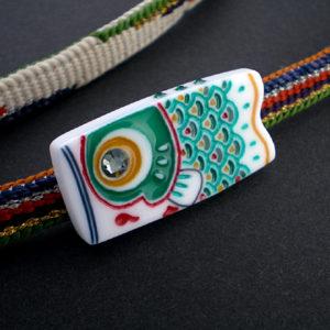 鯉のぼりの帯留 緑 子鯉