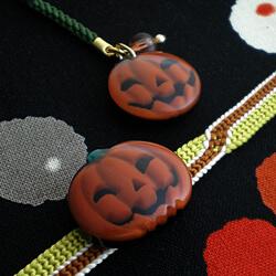 ハロウィンモチーフ ジャックオランタン栗かぼちゃ色