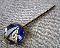 オリジナルボタンのさしピン ヨット(2本セット) 紺
