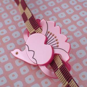 桜鶴の帯留め