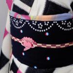 桜鶴の帯留め 着画