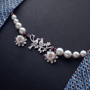 小鳥と花の羽織紐