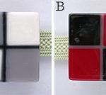 豆市松の帯留め その2 白×グレーと赤×黒