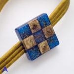 市松帯留めカラーブロック色違い A 青×ゴールド 試作品