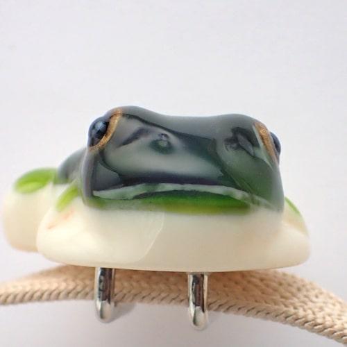 立体カエルさん帯留め アマガエルカラー 難あり商品