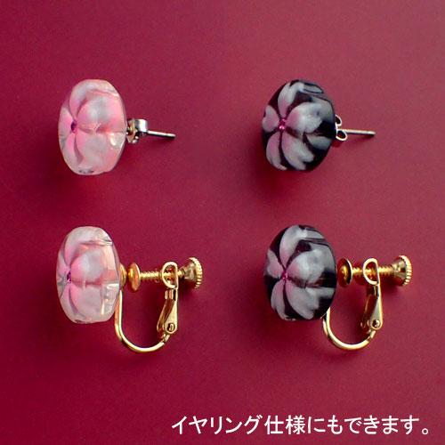 おぼろ桜のシンプルピアスとイヤリング比較