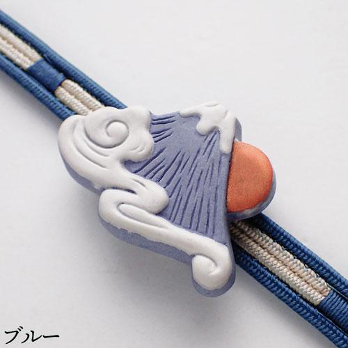 瑞雲富士帯留め ブルー