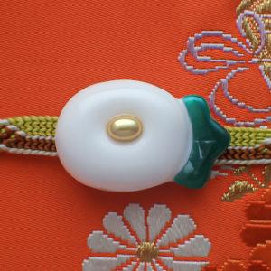 万寿菊帯留(白)
