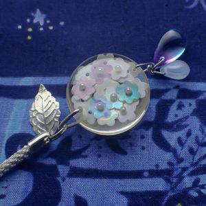 紫陽花の根付(白)