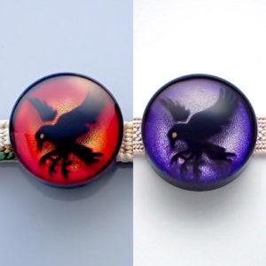 八咫烏の帯留め 赤・紫